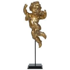 Early 19th Century Antique Gold Painted Wooden Cherub / Putto