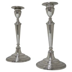 Early 19th Century Antique Portuguese Silver Pair Candlesticks Lisbon circa 1820