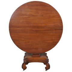 Early 19th Century Antique Regency Solid Mahogany Tilt-Top Round Tea Table