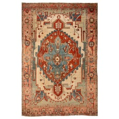 Early 19th Century Antique Serapi Wool Rug