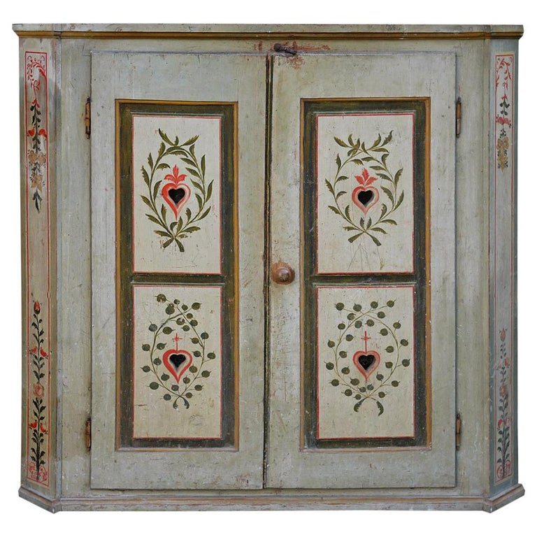Early 19th Century Aquamarine Green Painted Cabinet For Sale