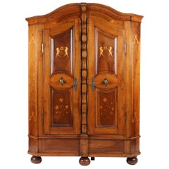Early 19th Century Armoire, German Cupboard, Armoire, Walnut with Inlays, 1800