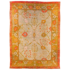Early 19th Century Arts & Crafts Era Oushak Carpet