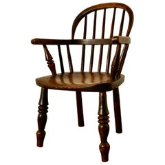 Early 19th Century Beech and Elm Childs Country Carver Chair