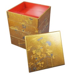 Early 19th Century Bento Box with Chrysanthemum Design, Edo Period, Art of Japan
