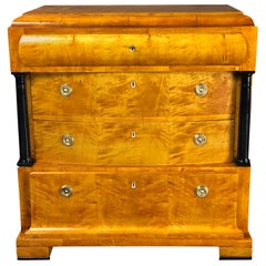 19th Century Birch Wood and Brass Biedermeier German Commode