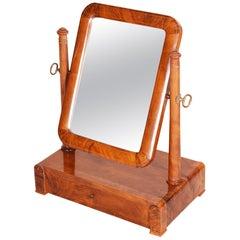 Early 19th Century Biedermeier Restored Walnut Czech Mirror Dressing Table 1830s