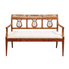 Early 19th Century Biedermeier Settee with Lyre Back Splat