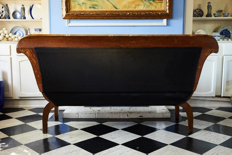 Early 19th Century Biedermeier Sofa of Cherry in Black Horsehair Fabric In Good Condition For Sale In Atlanta, GA