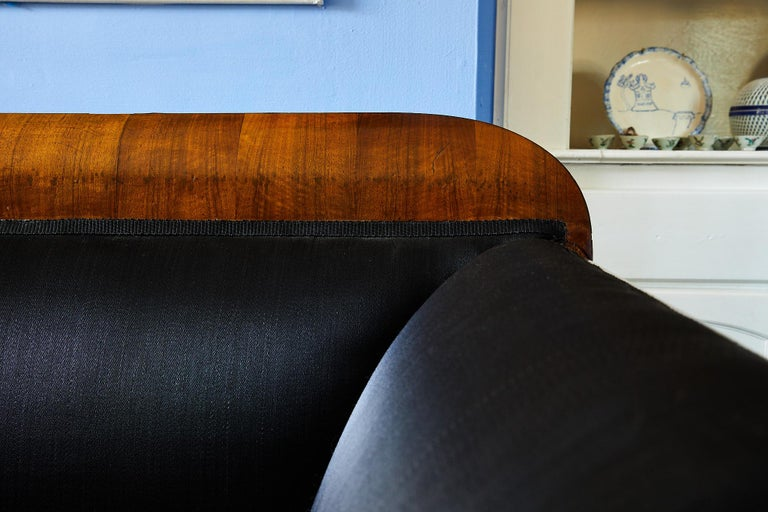 Mid-19th Century Early 19th Century Biedermeier Sofa of Cherry in Black Horsehair Fabric For Sale