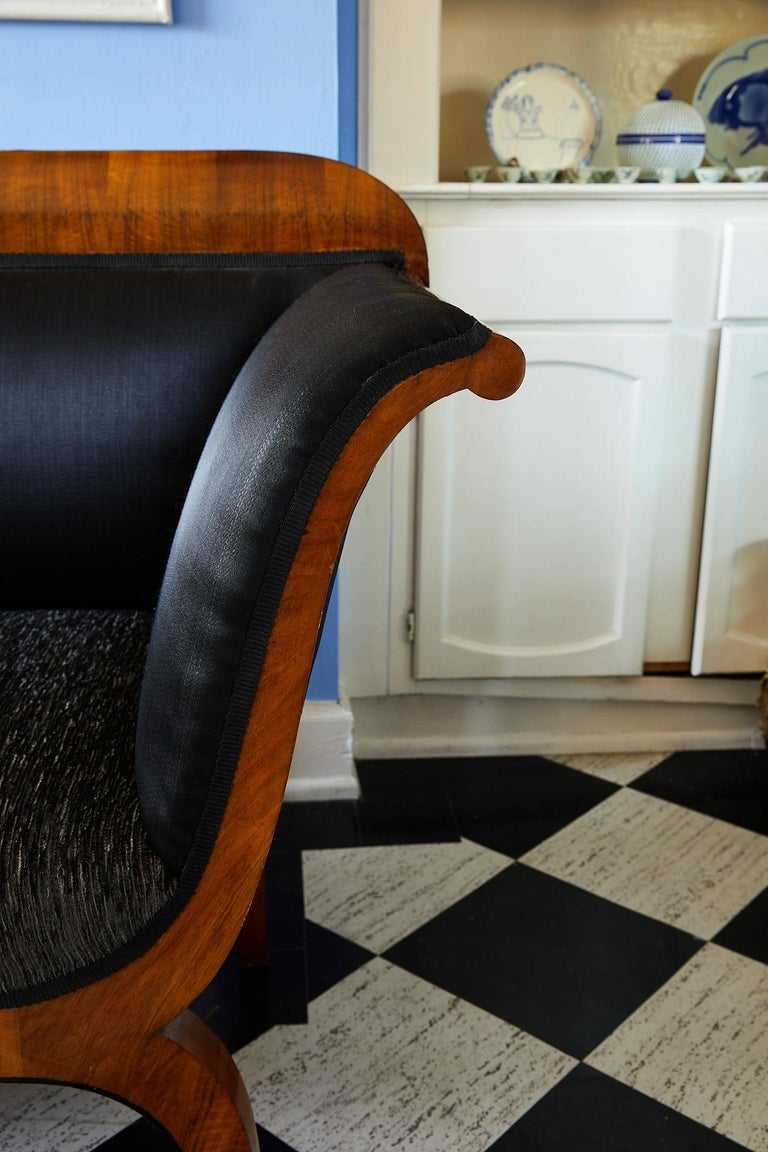 Upholstery Early 19th Century Biedermeier Sofa of Cherry in Black Horsehair Fabric For Sale