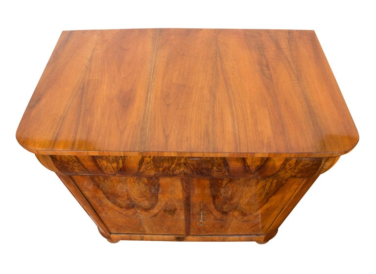 German Early 19th Century Biedermeier Walnut Half Cabinet For Sale