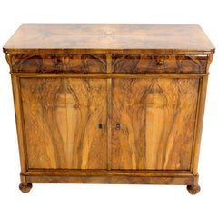 Early 19th Century Biedermeier Walnut Half Cabinet or Sideboard