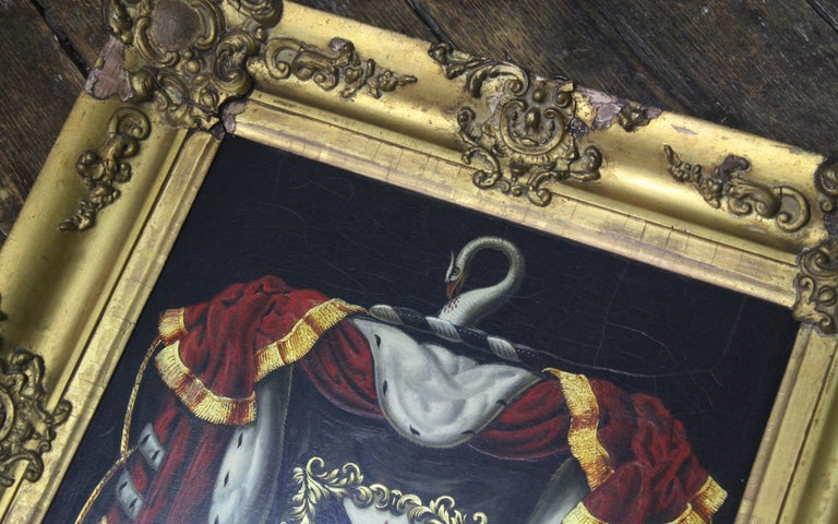 Early 19th Century Biggar Family Crest, Oil on Board Large Armorial Coach Panel For Sale 11