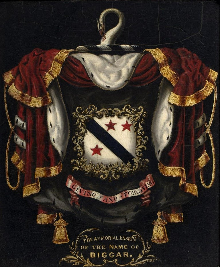 A large oil on board armorial from the biggar family, finely painted and gilded. The panel sits in a later frame of the same period, as you can see from the photographs the gesso has some missing sections what remains is stable and secure  The