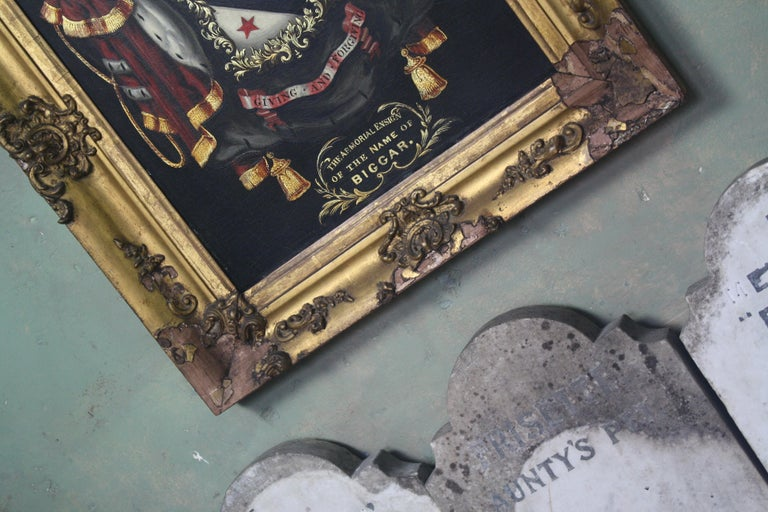 George III Early 19th Century Biggar Family Crest, Oil on Board Large Armorial Coach Panel For Sale