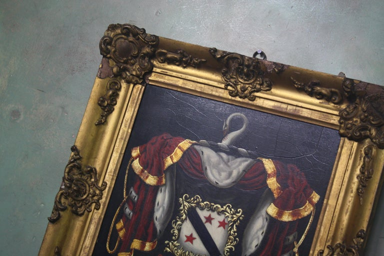 Scottish Early 19th Century Biggar Family Crest, Oil on Board Large Armorial Coach Panel For Sale
