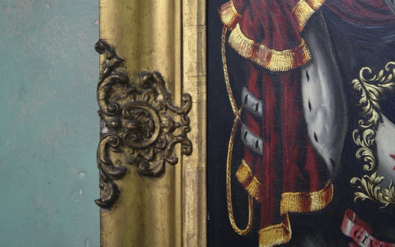 Gesso Early 19th Century Biggar Family Crest, Oil on Board Large Armorial Coach Panel For Sale
