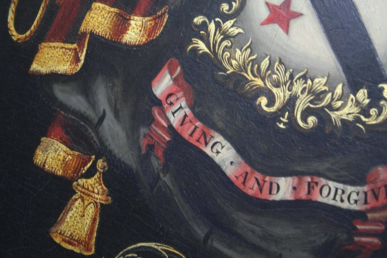 Early 19th Century Biggar Family Crest, Oil on Board Large Armorial Coach Panel For Sale 2