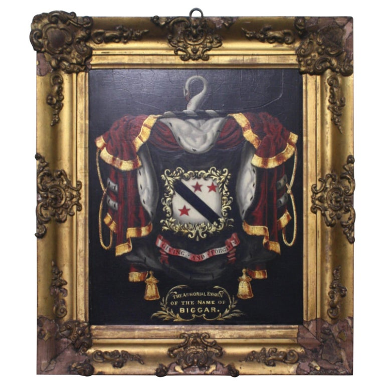 Early 19th Century Biggar Family Crest, Oil on Board Large Armorial Coach Panel For Sale