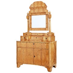 Early 19th Century Birch Biedermeier Vanity Dressing Cabinet