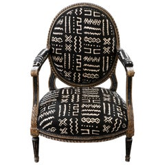 Early 19th Century Black and Gilded Armchair Black and White Ethnic Fabric