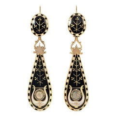 Early 19th Century Black and White Swiss Enamel and Gold Pendant Earrings