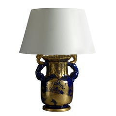 Early 19th Century Blue and Gold Mason's Ironstone Vase Lamp