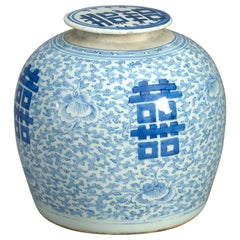 Early 19th Century Blue and White Chinese Porcelain Vase and Cover