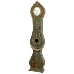 Swedish Early 19th Century Carved Wooden Mora Clock with Original Blue Paint