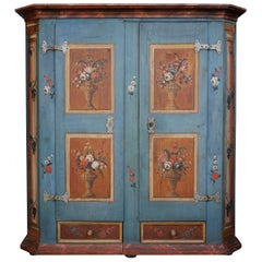 Early 19th Century Blue Painted Floral Wardrobe