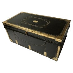 Early 19th Century Brass Bound and Studded Leather Covered Travelling Trunk