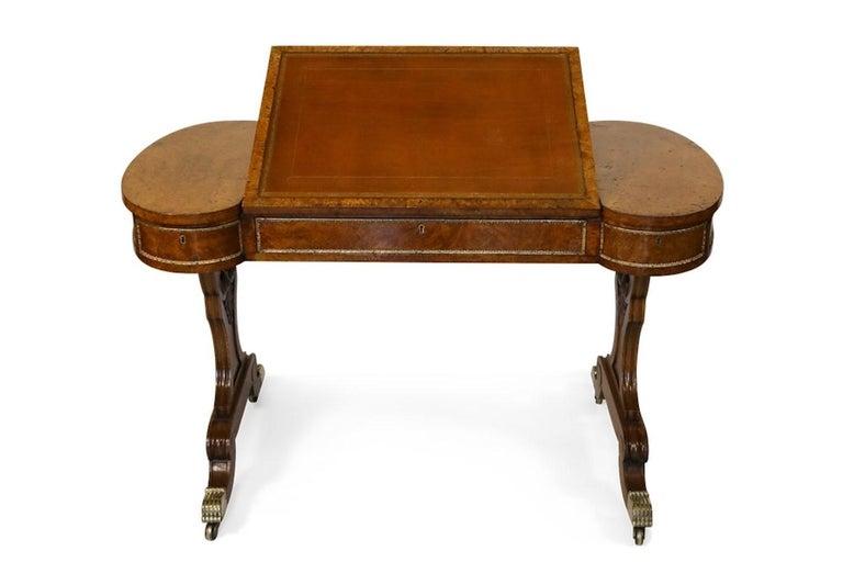English Early 19th Century Brass-Mounted Pollard Oak Writing Table  For Sale