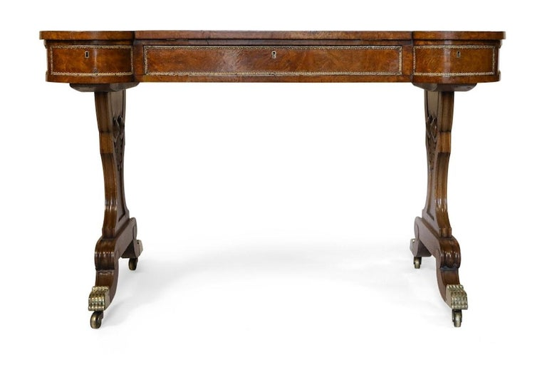 Early 19th Century Brass-Mounted Pollard Oak Writing Table  In Good Condition For Sale In Lymington, Hampshire