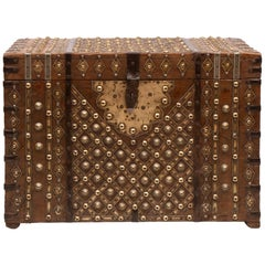 Early 19th Century Brass Studded Teak Indian Chest