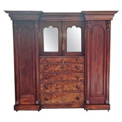 Early 19th Century British Mahogany Gothic Revival Wardrobe