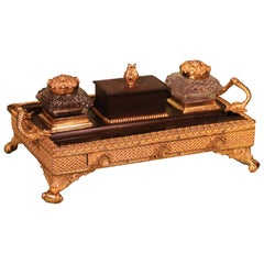 Early 19th Century Bronze and Ormolu Pen Tray with Central Drawer