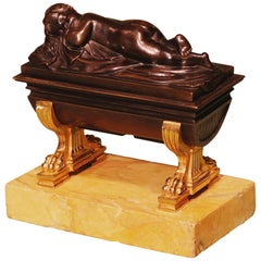 Early 19th Century Bronze and Ormolu Sarcophagus Shaped Encrier