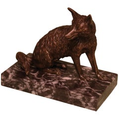 Early 19th Century Bronze Fox Paper Weight Cardholder