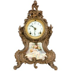 Early 19th Century Bronze Mounted / Porcelain Face Clock