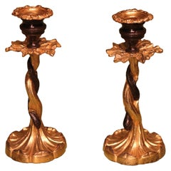 Early 19th Century Bronze & Ormolu Candlesticks with Entwined Snakes
