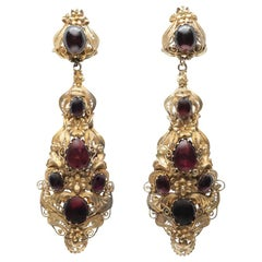 Early 19th Century Cabochon Garnet and 15 Karat Cannetille Drop Earrings