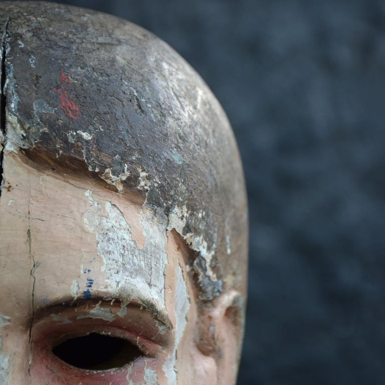 Early 19th Century Carved Italian Santos Religious Macabre Wooden Head For Sale 7