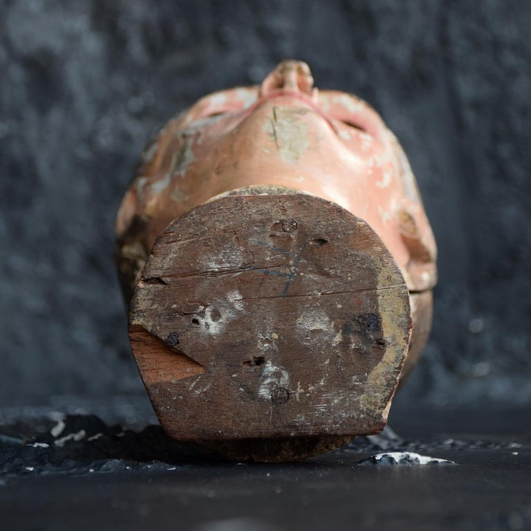 Early 19th Century Carved Italian Santos Religious Macabre Wooden Head For Sale 10