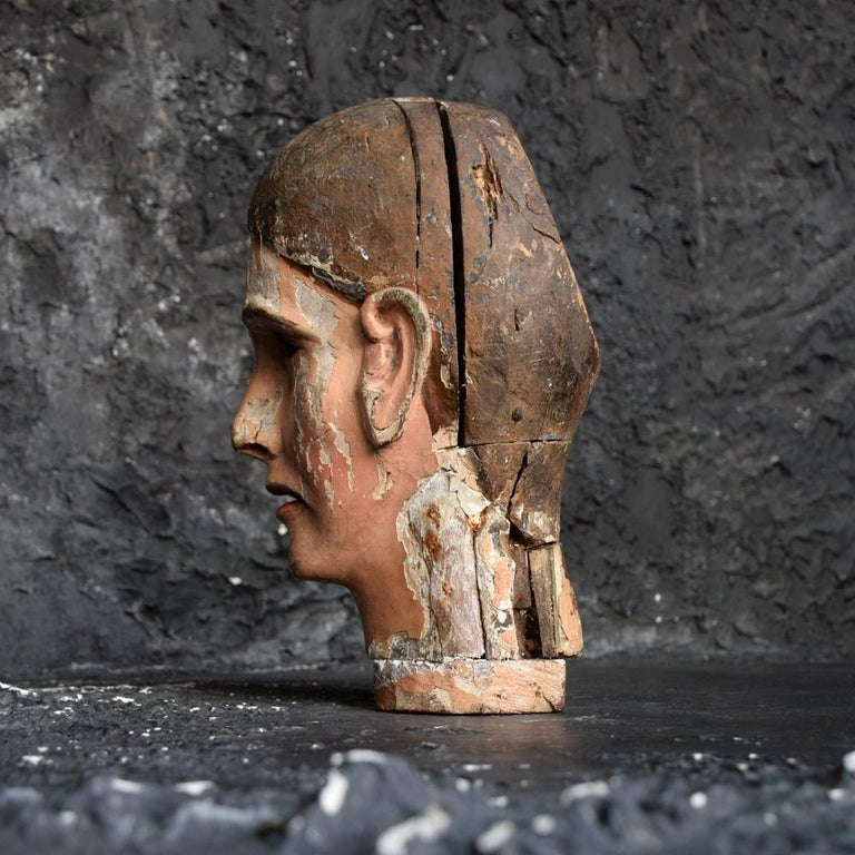 Early 19th Century Carved Italian Santos Religious Macabre Wooden Head For Sale 1