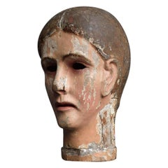 Early 19th Century Carved Italian Santos Religious Macabre Wooden Head
