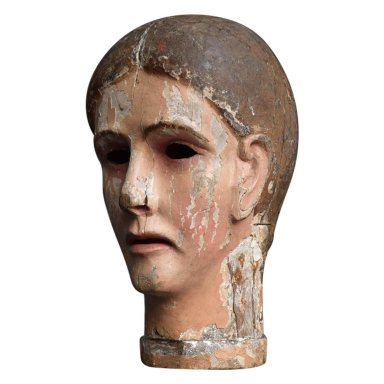 Early 19th Century Carved Italian Santos Religious Macabre Wooden Head For Sale