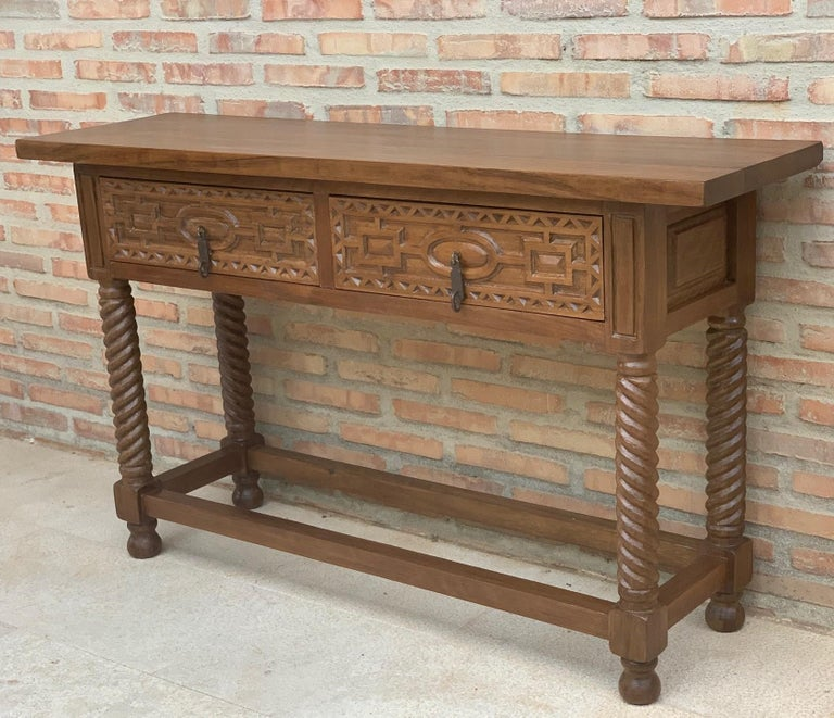 Baroque Early 19th Century Carved Walnut Wood Catalan Spanish Console Table For Sale