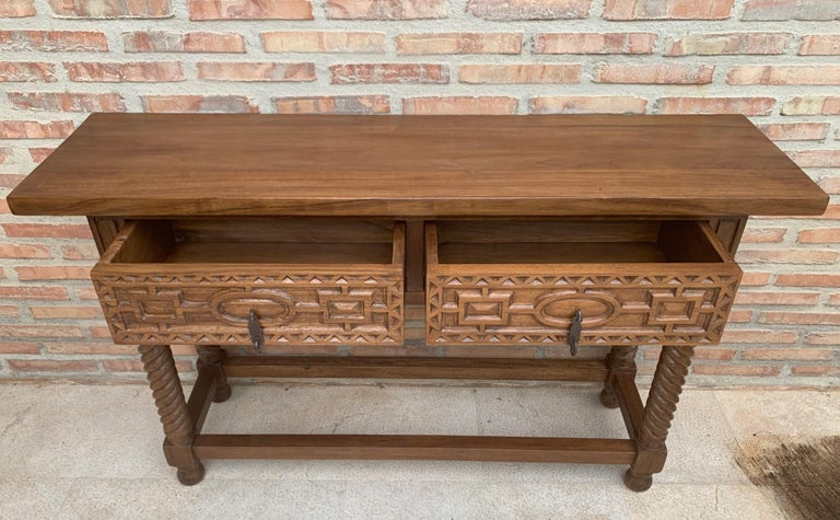 Iron Early 19th Century Carved Walnut Wood Catalan Spanish Console Table For Sale