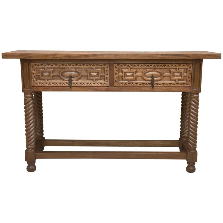 Early 19th Century Carved Walnut Wood Catalan Spanish Console Table For Sale
